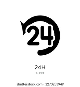 24h icon vector on white background, 24h trendy filled icons from Alert collection, 24h simple element illustration