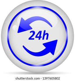 24h icon. White glossy round vector icon in eps 10. Editable modern design internet button on white background.