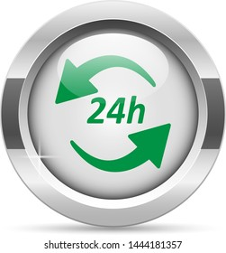 24h icon.White metal internet button. Glass with green icon, vector.