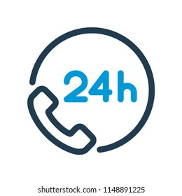 24h phone support line icon.