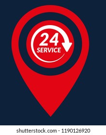 24h pinpoint icon.24h map marker pin, vector illustration.