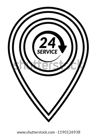 24 H Pinpoint Icon 24 H Map Marker Pin Stock Vector Royalty Free