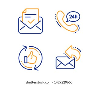 24h service, Approved mail and Refresh like icons simple set. Share mail sign. Call support, Confirmed document, Thumbs up counter. New e-mail. Technology set. Linear 24h service icon. Vector