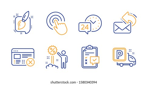 24h service, Click and Checklist line icons set. Share mail, Reject web and Discount signs. Painting brush, Truck parking symbols. Call support, Cursor pointer. Business set. Vector
