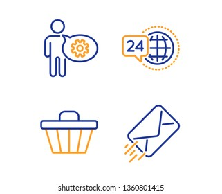 24h service, Cogwheel and Shop cart icons simple set. E-mail sign. Call support, Engineering tool, Web buying. Mail delivery. Business set. Linear 24h service icon. Colorful design set. Vector