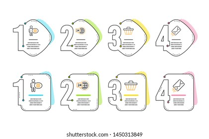 24h service, Cogwheel and Shop cart icons simple set. E-mail sign. Call support, Engineering tool, Web buying. Mail delivery. Business set. Infographic timeline. Line 24h service icon. Vector