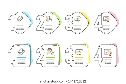 24h service, E-mail and Ab testing icons simple set. Certificate sign. Call support, Mail delivery, Test chat. Verified document. Technology set. Infographic timeline. Line 24h service icon. Vector
