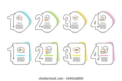24h service, Face verified and Message icons simple set. Face cream sign. Call support, Access granted, Speech bubble. Gel. Business set. Infographic timeline. Line 24h service icon. Vector