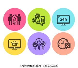 24h service, Like and Cogwheel icons simple set. Partnership, Web shop and Time signs. Call support, Social media likes. Technology set. Flat 24h service icon. Circle button. Vector