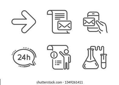 24h service, Next and Mail letter icons simple set. Manual doc, Messenger mail and Chemistry lab signs. Call support, Forward. Technology set. Line 24h service icon. Editable stroke. Vector