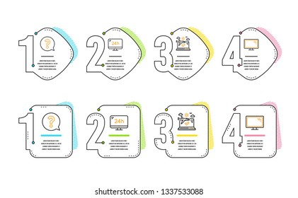 24h service, Question mark and Airplane travel icons simple set. Monitor sign. Call support, Help support, Check in. Computer component. Business set. Infographic timeline. Line 24h service icon