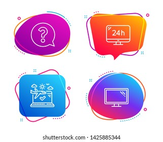 24h service, Question mark and Airplane travel icons simple set. Monitor sign. Call support, Help support, Check in. Computer component. Business set. Speech bubble 24h service icon. Vector