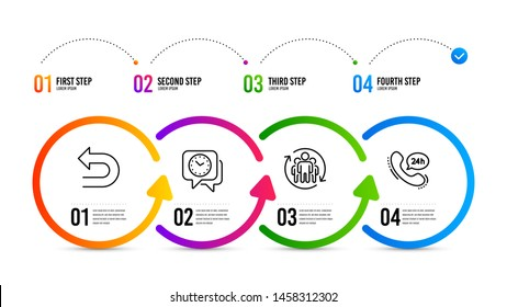 24h service sign. Infographics timeline. Undo, Clock and Teamwork line icons set. Left turn, Time, Employees change. Call support. Technology set. Undo icon. Timeline diagram. Vector