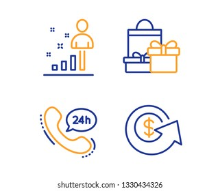24h service, Stats and Shopping icons simple set. Dollar exchange sign. Call support, Business analysis, Holiday packages. Money refund. Business set. Linear 24h service icon. Colorful design set