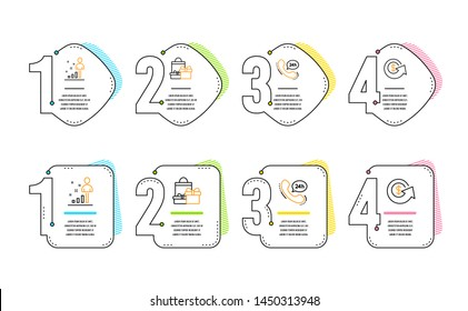 24h service, Stats and Shopping icons simple set. Dollar exchange sign. Call support, Business analysis, Holiday packages. Money refund. Business set. Infographic timeline. Line 24h service icon