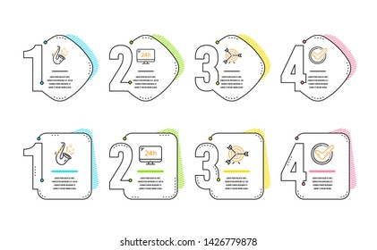 24h service, Target and Jazz icons simple set. Confirmed sign. Call support, Targeting, Saxophone. Accepted message. Infographic timeline. Line 24h service icon. 4 options or steps. Vector