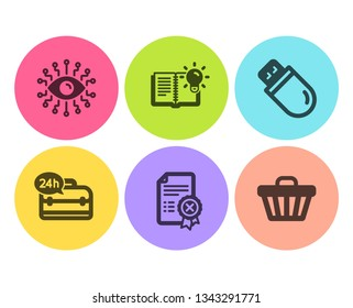 24h service, Usb stick and Product knowledge icons simple set. Reject certificate, Artificial intelligence and Shop cart signs. Support, Memory flash. Technology set. Flat 24h service icon. Vector