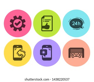 24h service, Weather phone and Incoming call icons simple set. Service, Approved document and Parking garage signs. Call support, Travel device. Business set. Flat 24h service icon. Circle button