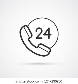 24h support phone trendy black icon. Vector illustration