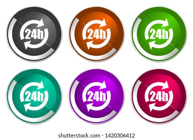 24h vector icons. Chrome border round web buttons. Silver metallic pushbutton colorful set