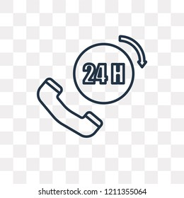 24h vector outline icon isolated on transparent background, high quality linear 24h transparency concept can be used web and mobile