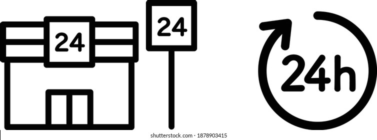 24-hour convenience store icon set