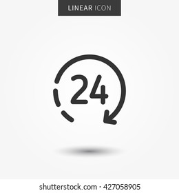 24hour icon vector illustration. Isolated 24 hours symbol.