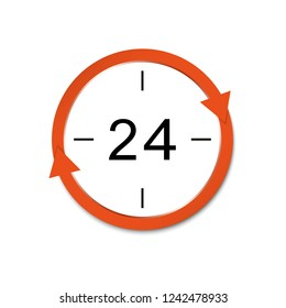 The 24-hour sign is open. Icon of the round-the-clock work. Vector illustration.