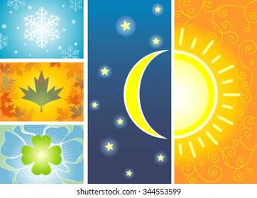 24Hours Symbol & Four Season-vector illustration Weather series