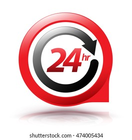 24hr arrow circle symbol. Vector illustration.