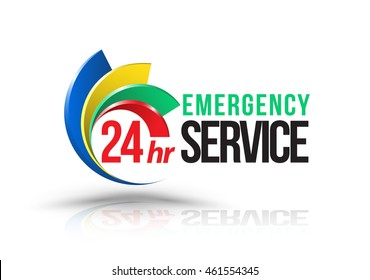 24hr Emergency service logo. Vector illustration.