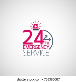 24hr Emergency service logo. Vector illustration.