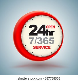 24hr services with clock scale logo 3d style. Vector illustration.