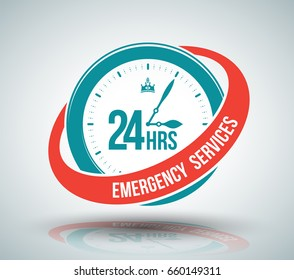 24hrs emergency services sign for service available 24 hours. Vector illustration.