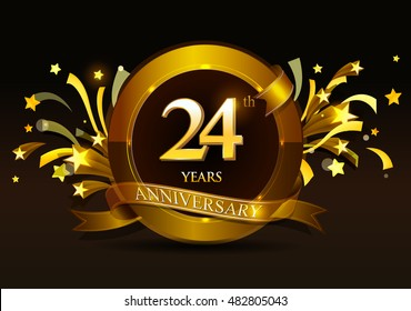 24th anniversary celebration with golden ring and ribbon