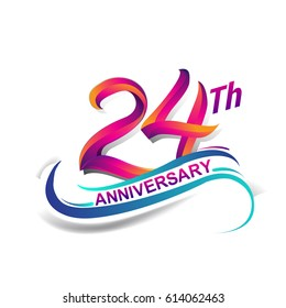 24th anniversary celebration logotype blue and red colored. twenty four years birthday logo on white background.