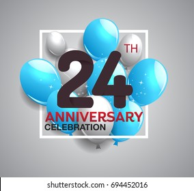 24th anniversary celebration logotype. anniversary logo with balloon in white rectangle.  Vector design for celebration, birthday, party, festival, invitation card, and greeting card