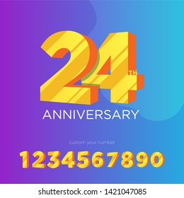 24th anniversary logo design and editable number 24 with perspective or 3D effect