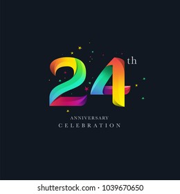 24th Anniversary Logo Design, Number 24 Icon Vector Template.