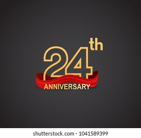 24th anniversary logotype design with line golden color and red ribbon for celebration isolated on dark background