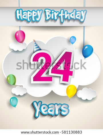 24th Birthday Celebration Design With Clouds And Balloons Greeting Card Invitation For