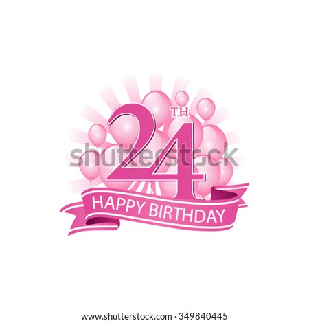 24th Pink Happy Birthday Logo With Balloons And Burst Of Light