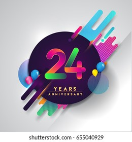 24th years Anniversary logo with colorful abstract background, vector design template elements for invitation card and poster your twenty-four birthday celebration.