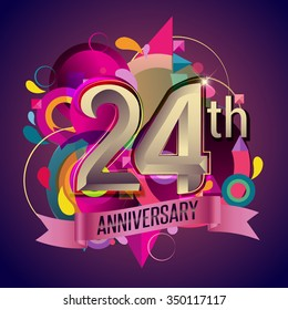 24th years anniversary wreath ribbon logo, geometric background