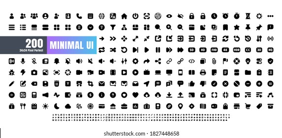 24x24 Pixel Perfect. Basic User Interface Essential Set. 200 Solid Glyph Icons. For App, Web, Print. Round Cap and Round Corner.