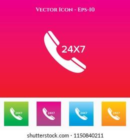 24X7 Call Icon in Colored Square box. eps-10