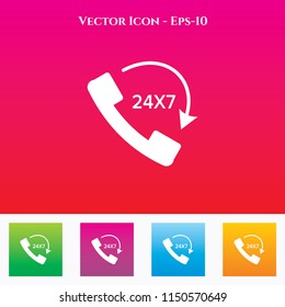 24X7 Emergency Call Icon in Colored Square box. eps-10