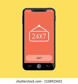 24X7 Line Icon on Mobile Screen.