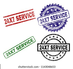 24X7 SERVICE seal prints with corroded texture. Black, green,red,blue vector rubber prints of 24X7 SERVICE text with scratched texture. Rubber seals with round, rectangle, medal shapes.