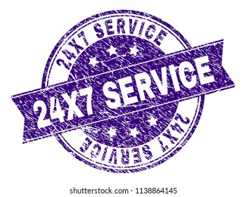 24X7 SERVICE stamp seal imprint with distress texture. Designed with ribbon and circles. Violet vector rubber print of 24X7 SERVICE caption with scratched texture.
